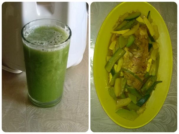 Dinner is served: Curry Fish and Vegetables. Cucumber Juice