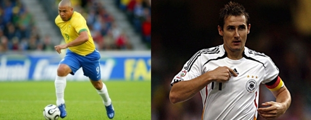 Left: Ronaldo (Brazil) - 15 Goals. Right: Klose (Germany) - 14 Goals