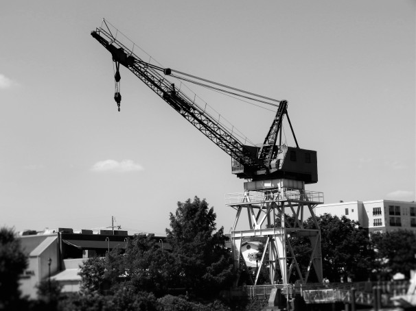 Crane, Cee's Black & White Photo Challenge: Things with Engines or Motors,
