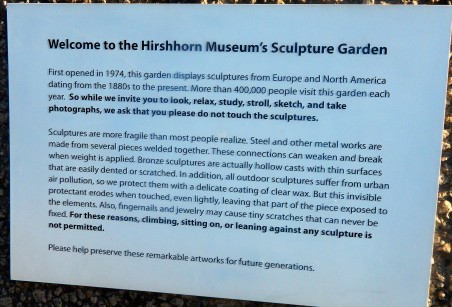 Welcome Sign Hirshhorn Museum's Sculpture Garden