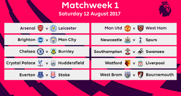 Premier League 2017 Matchweek 1 Fixtures