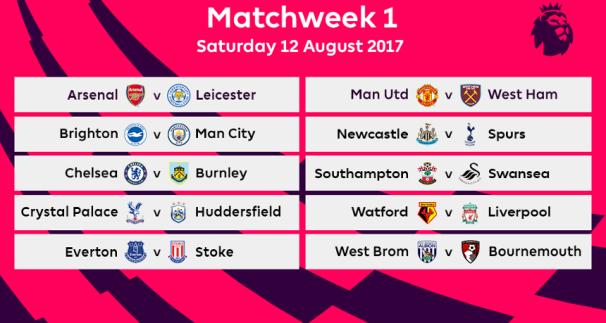 Premier League 2017 Matchweek 1 Fixtures