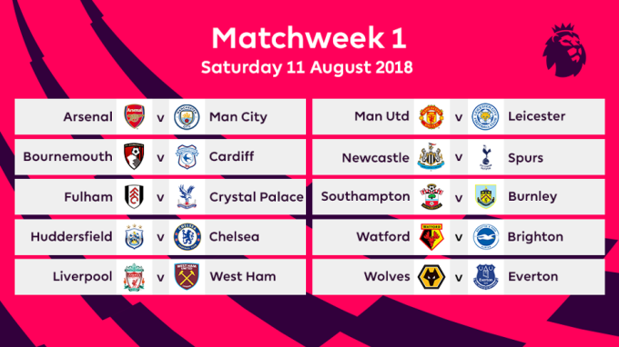 2018-2019 EPL Match week 1 Fixtures
