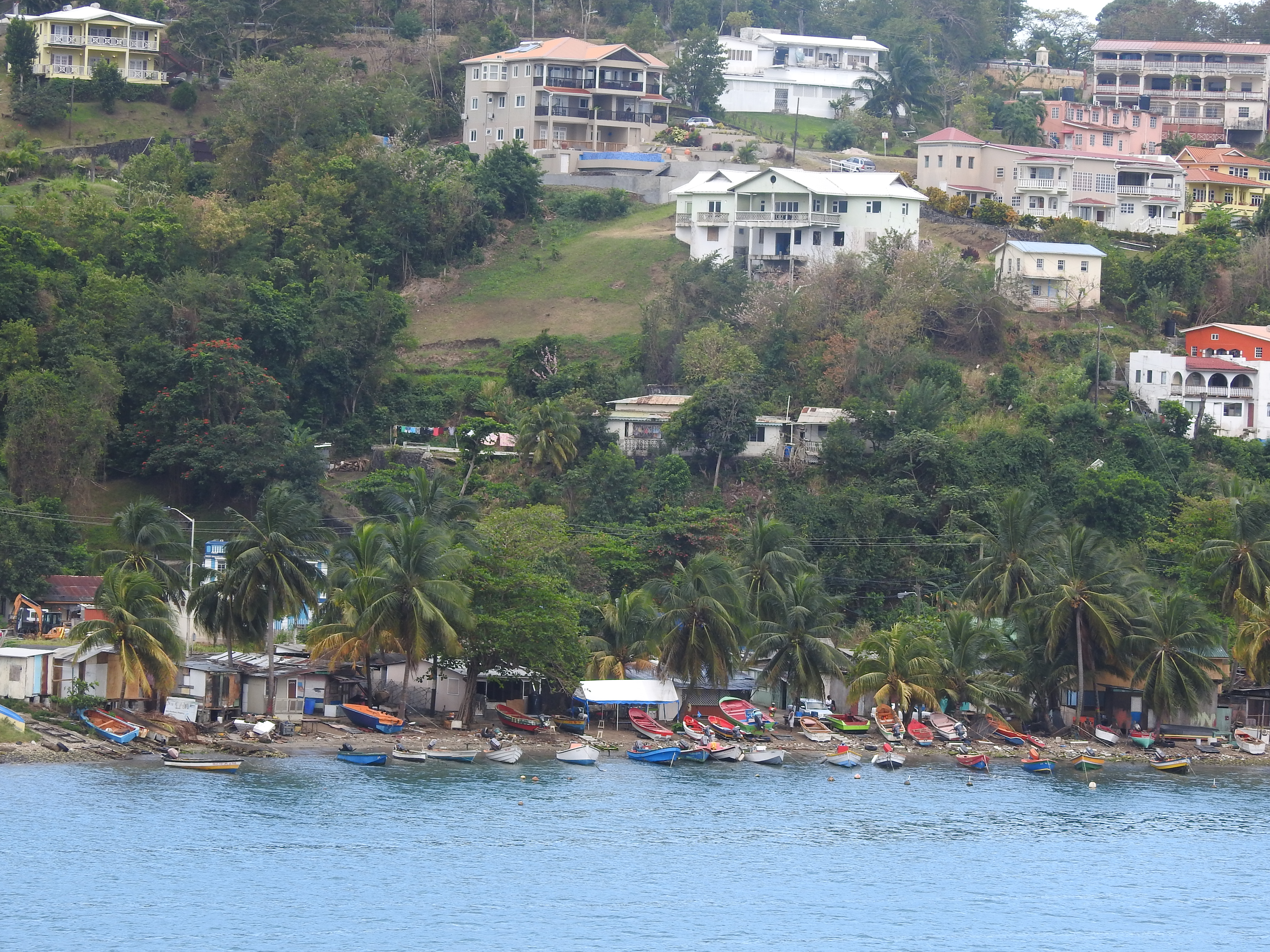 A view of Anse La Raye showing the fishing boats.
