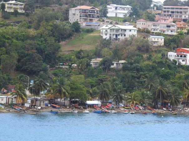 A view of Anse La Raye showing the fishing boats.