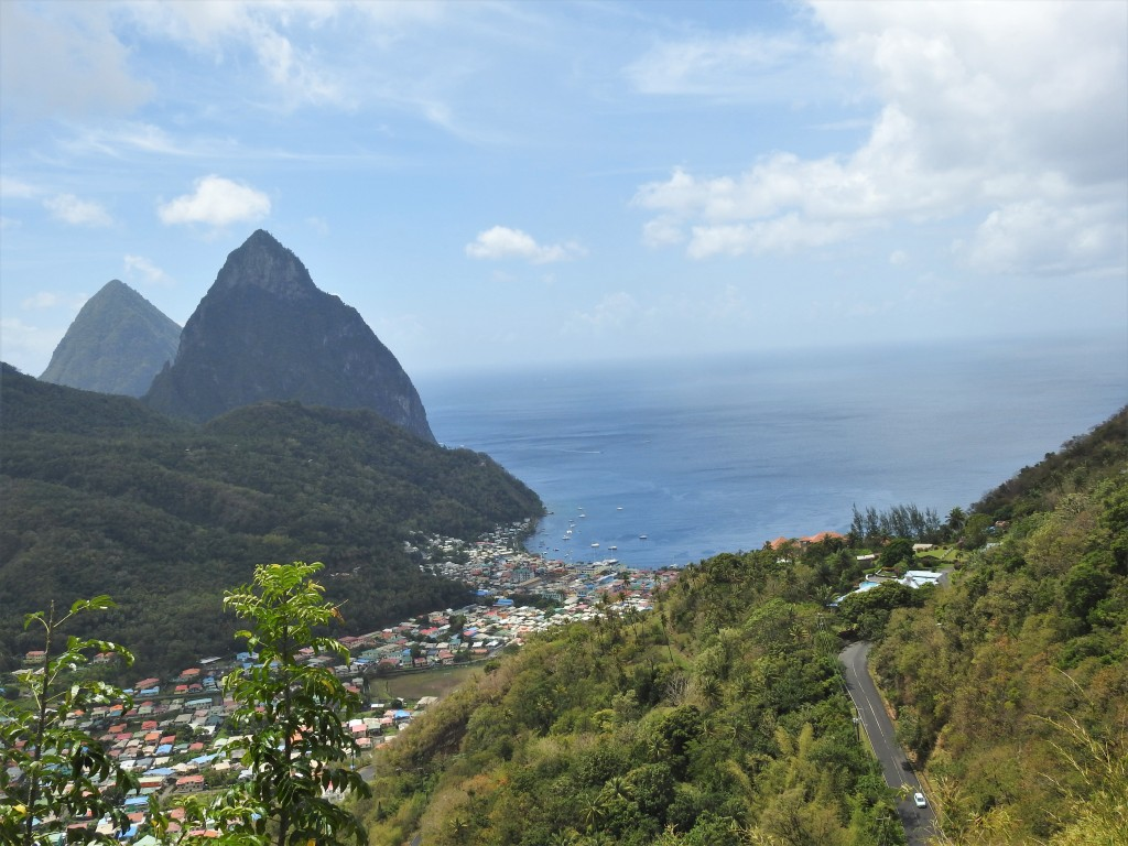 A view of Soufriere in St. Lucia from the Castries-Soufriere Highway showing the magnificent pitons in the background.