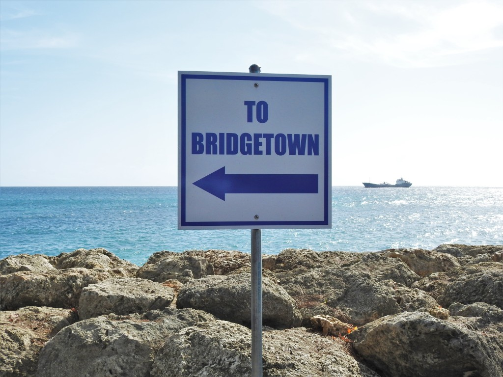 To Bridgetown Sign in Barbados