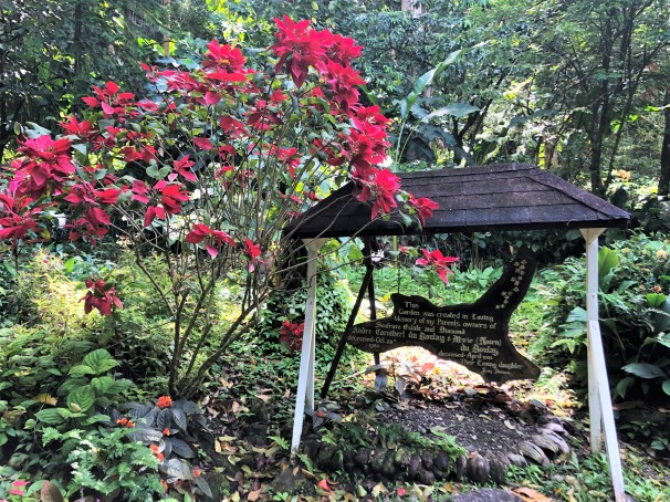 Memorial at Diamond Botanical Gardens for the owners.