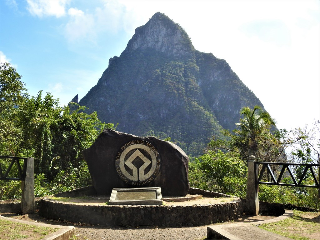 The World Heritage Site monument in Soufriere, St. Lucia showing one of the pitons in the background.