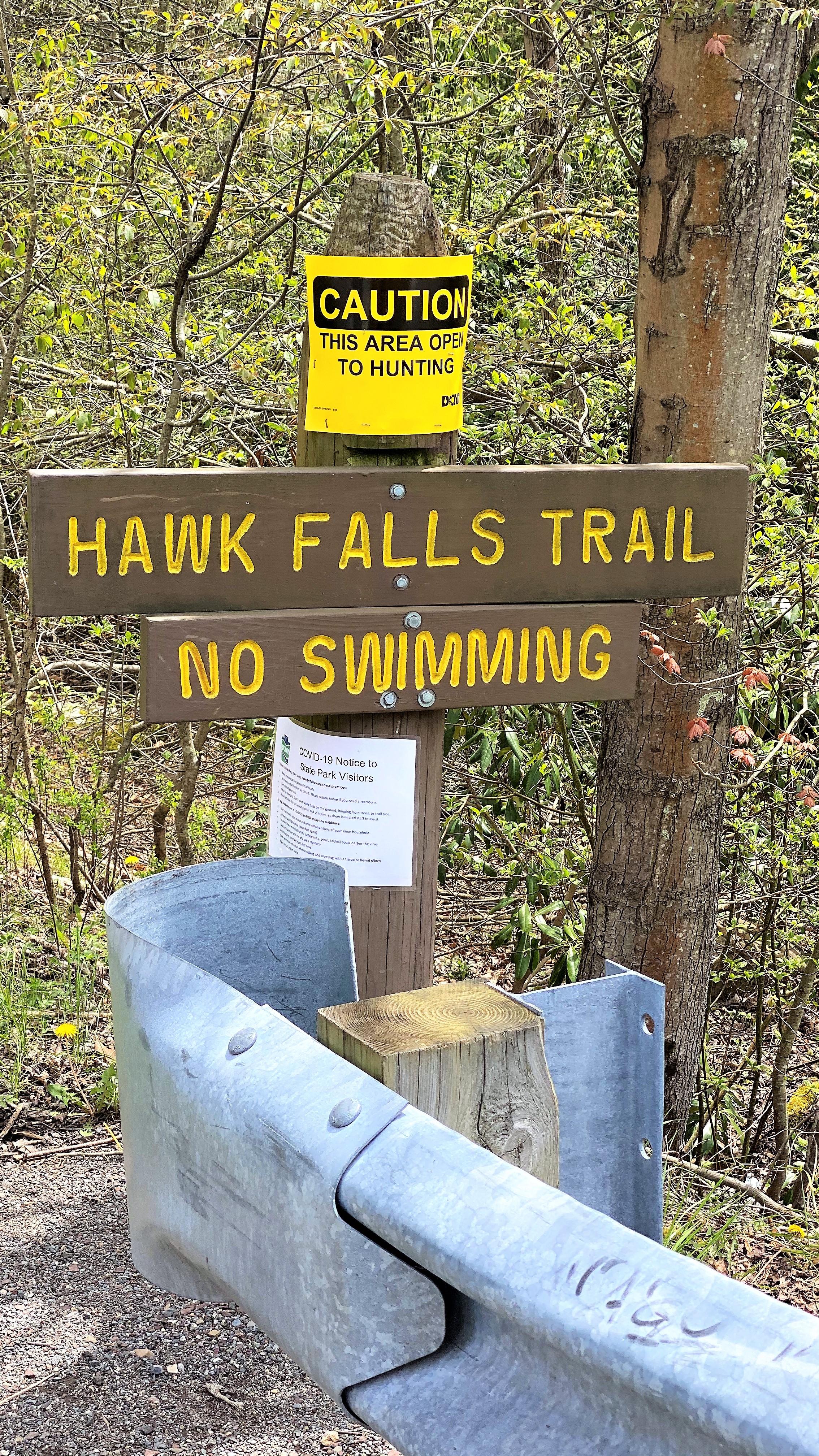 Hawk Falls Trail No Swimming Sign